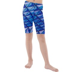 Lines Geometry Architecture Texture Kids  Mid Length Swim Shorts by Simbadda
