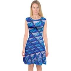 Lines Geometry Architecture Texture Capsleeve Midi Dress by Simbadda