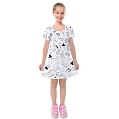 Furniture Black Decor Pattern Kids  Short Sleeve Velvet Dress by Simbadda
