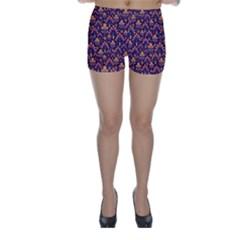 Abstract Background Floral Pattern Skinny Shorts by Simbadda