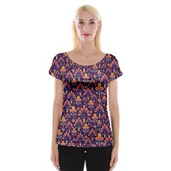 Abstract Background Floral Pattern Women s Cap Sleeve Top by Simbadda