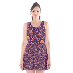 Abstract Background Floral Pattern Scoop Neck Skater Dress by Simbadda