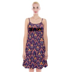 Abstract Background Floral Pattern Spaghetti Strap Velvet Dress by Simbadda