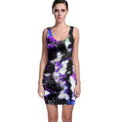 Canvas Acrylic Digital Design Sleeveless Bodycon Dress by Simbadda