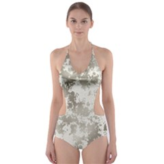 Wall Rock Pattern Structure Dirty Cut Out One Piece Swimsuit by Simbadda