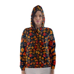 Pattern Background Ethnic Tribal Hooded Wind Breaker (women) by Simbadda
