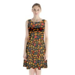 Pattern Background Ethnic Tribal Sleeveless Chiffon Waist Tie Dress by Simbadda