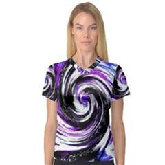 Canvas Acrylic Digital Design Women s V Neck Sport Mesh Tee by Simbadda