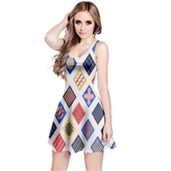 Plaid Triangle Sign Color Rainbow Reversible Sleeveless Dress by Alisyart