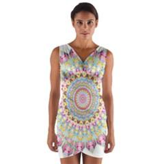 Kaleidoscope Star Love Flower Color Rainbow Wrap Front Bodycon Dress by Alisyart