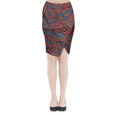 Random Inspiration Midi Wrap Pencil Skirt by Alisyart