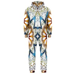 Prismatic Flower Floral Star Gold Green Purple Orange Hooded Jumpsuit (men)  by Alisyart