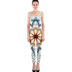 Prismatic Flower Floral Star Gold Green Purple Orange Onepiece Catsuit by Alisyart