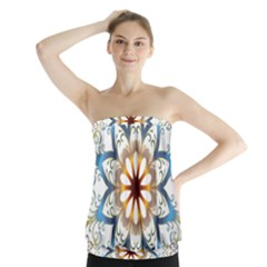 Prismatic Flower Floral Star Gold Green Purple Orange Strapless Top by Alisyart