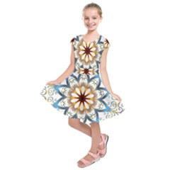 Prismatic Flower Floral Star Gold Green Purple Orange Kids  Short Sleeve Dress by Alisyart