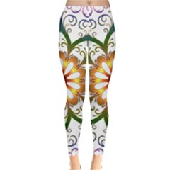 Prismatic Flower Floral Star Gold Green Purple Leggings  by Alisyart