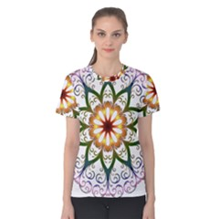 Prismatic Flower Floral Star Gold Green Purple Women s Cotton Tee by Alisyart