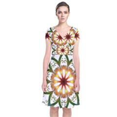 Prismatic Flower Floral Star Gold Green Purple Short Sleeve Front Wrap Dress by Alisyart