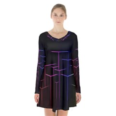Space Light Lines Shapes Neon Green Purple Pink Long Sleeve Velvet V Neck Dress by Alisyart