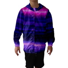 Space Planet Pink Blue Purple Hooded Wind Breaker (kids) by Alisyart