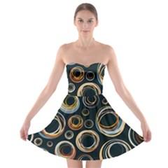 Seamless Cubes Texture Circle Black Orange Red Color Rainbow Strapless Bra Top Dress by Alisyart