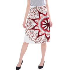 Prismatic Flower Floral Star Gold Red Orange Midi Beach Skirt by Alisyart