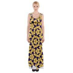 Star Orange Blue Maxi Thigh Split Dress by Alisyart