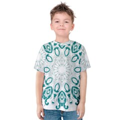 Vintage Floral Star Blue Green Kids  Cotton Tee by Alisyart