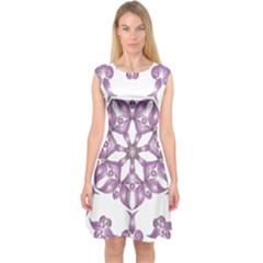 Frame Flower Star Purple Capsleeve Midi Dress by Alisyart