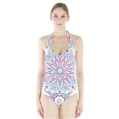 Frame Star Rainbow Love Heart Gold Purple Blue Halter Swimsuit by Alisyart