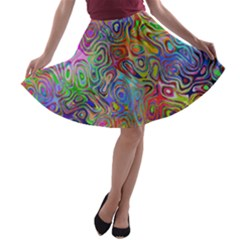 Glass Rainbow Color A Line Skater Skirt by Alisyart