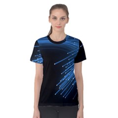 Abstract Light Rays Stripes Lines Black Blue Women s Cotton Tee by Alisyart