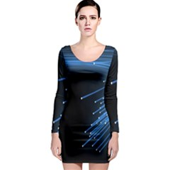 Abstract Light Rays Stripes Lines Black Blue Long Sleeve Bodycon Dress by Alisyart