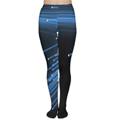 Abstract Light Rays Stripes Lines Black Blue Women s Tights by Alisyart