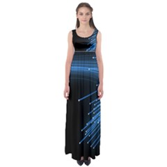 Abstract Light Rays Stripes Lines Black Blue Empire Waist Maxi Dress by Alisyart