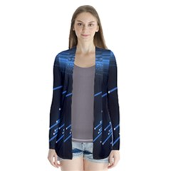 Abstract Light Rays Stripes Lines Black Blue Cardigans by Alisyart