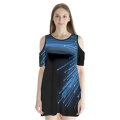Abstract Light Rays Stripes Lines Black Blue Shoulder Cutout Velvet  One Piece by Alisyart