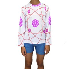 Atom Physical Chemistry Line Red Purple Space Kids  Long Sleeve Swimwear by Alisyart