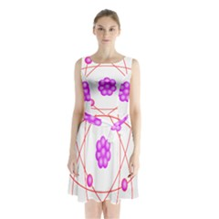 Atom Physical Chemistry Line Red Purple Space Sleeveless Chiffon Waist Tie Dress by Alisyart
