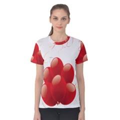 Balloon Partty Red Women s Cotton Tee by Alisyart