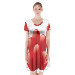 Balloon Partty Red Short Sleeve V Neck Flare Dress by Alisyart