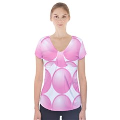 Circle Pink Short Sleeve Front Detail Top by Alisyart