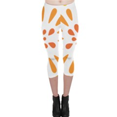 Circle Orange Capri Leggings  by Alisyart