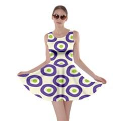 Circle Purple Green White Skater Dress