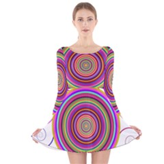 Abstract Spiral Circle Rainbow Color Long Sleeve Velvet Skater Dress by Alisyart
