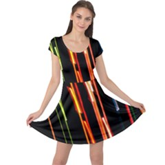 Colorful Diagonal Lights Lines Cap Sleeve Dresses by Alisyart