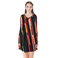 Colorful Diagonal Lights Lines Flare Dress by Alisyart