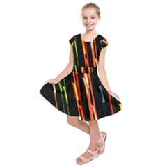 Colorful Diagonal Lights Lines Kids  Short Sleeve Dress by Alisyart