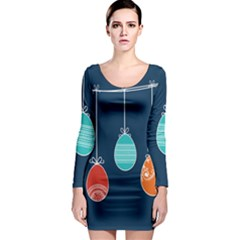 Easter Egg Balloon Pink Blue Red Orange Long Sleeve Bodycon Dress by Alisyart