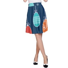 Easter Egg Balloon Pink Blue Red Orange A Line Skirt by Alisyart